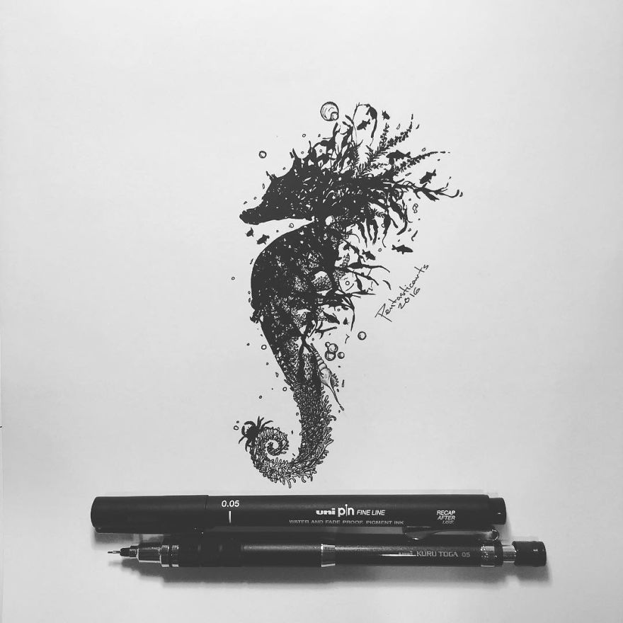 I Express My Love For Nature In Drawings With A Touch Of